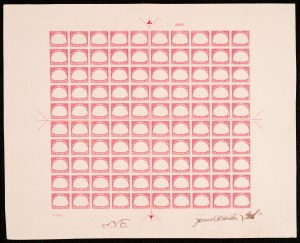 Proof made from plate 8492 (red frame) Image: Smithsonian National Postal Museum