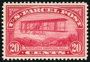 "20¢ Parcel Post stamp depicting ""Aeroplane Carrying Mail"" Image: Siegel Auction Galleries"