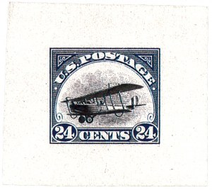 Blue and black die proof made on 9 May 1918, showing the plane without the number 38262