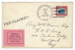 "24¢ used from Philadelphia on 15 May 1918 first flight cover to New York City with private ""Special Aero Mail"" label"