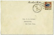 First flight cover with 24¢ Jenny signed by President Wilson Image: Smithsonian National Postal Museum