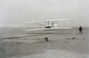 Historic photograph of Orville and Wilbur Wright's first flight at Kitty Hawk, N.C., on 17 December 1903